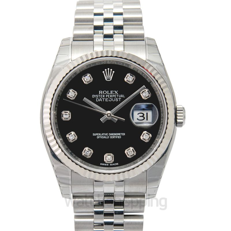 Rolex Datejust 36 Stainless Steel Fluted / Jubilee / Black Diamond