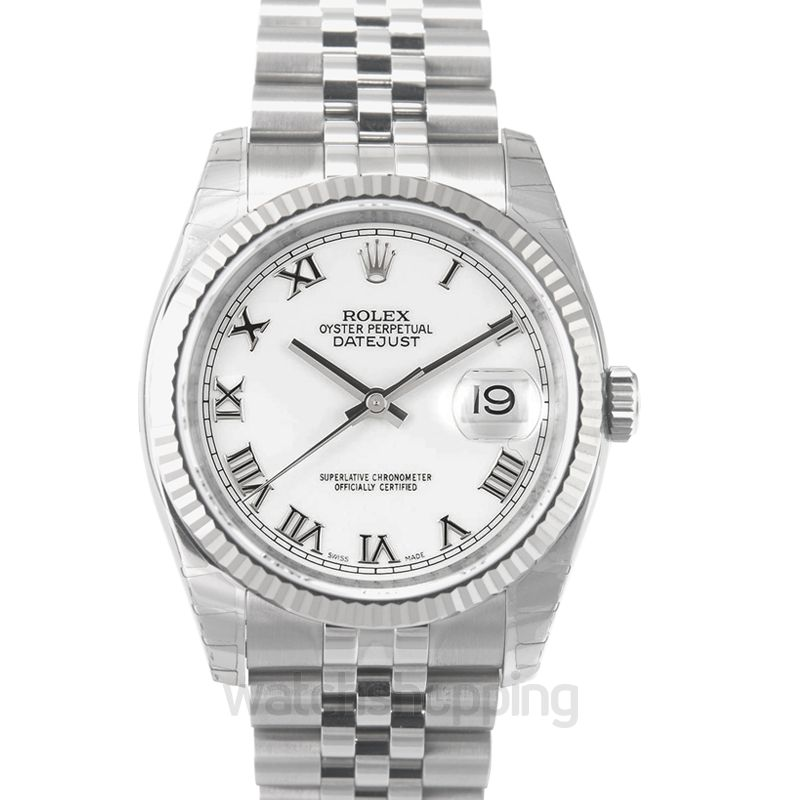 Rolex Datejust 36 Stainless Steel Fluted / Jubilee / White Roman