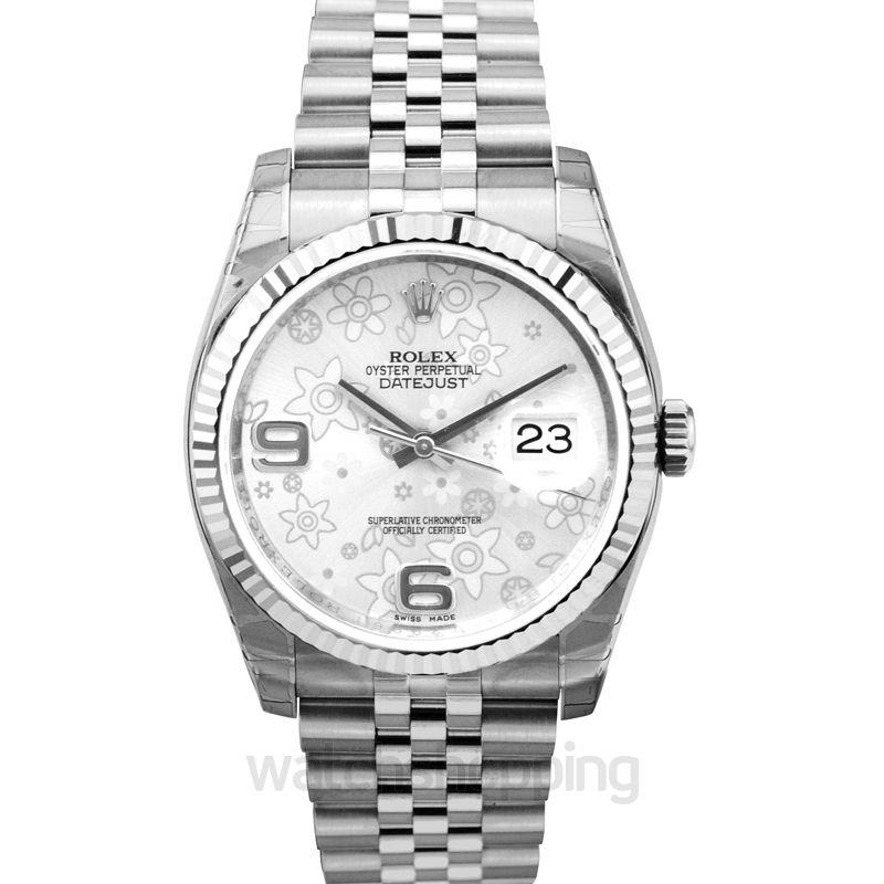Rolex Datejust 36 Stainless Steel Fluted / Jubilee / Silver Floral