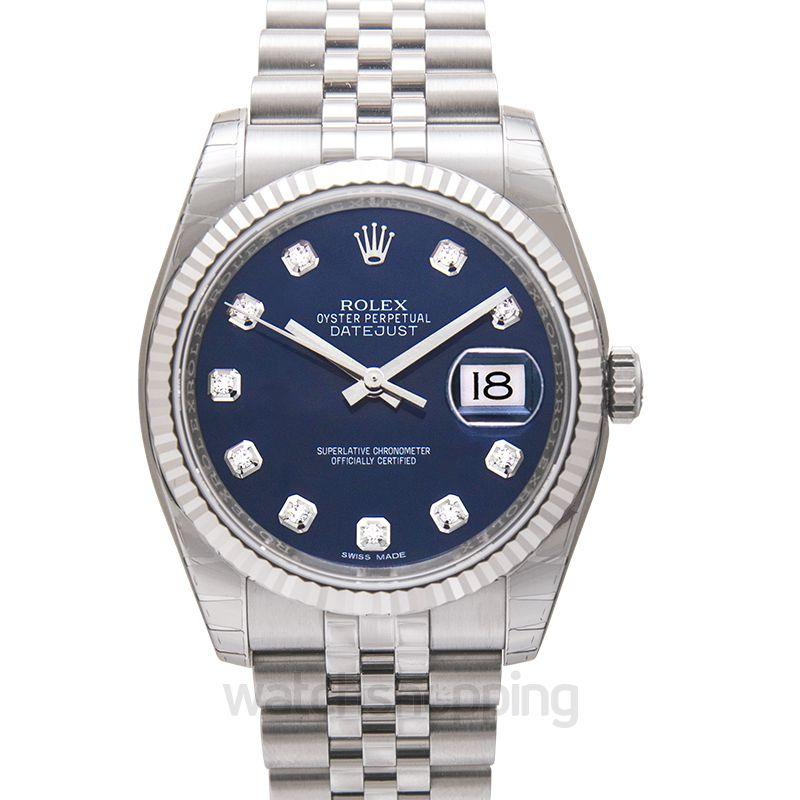 Rolex Rolex Oyster Perpetual 36 mm Blue Dial Stainless Steel Jubilee Bracelet Automatic Men's Watch 116234BLDJ