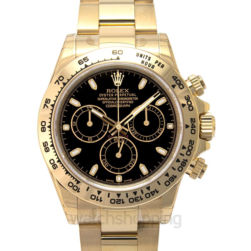 Rolex Cosmograph Daytona 18ct Yellow Gold Automatic Black Dial Men's Watch