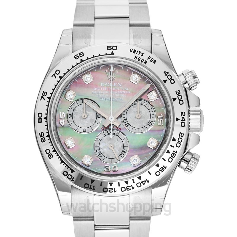 Rolex Cosmograph Daytona 18ct White Gold Automatic Mother of Pearl Dial Diamonds Men's Watch