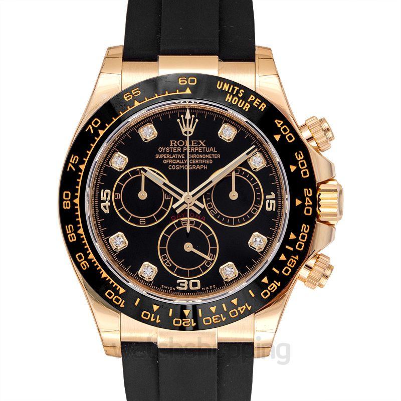 Rolex Cosmograph Daytona 18ct Yellow Gold Automatic Black Dial Diamonds Men's Watch
