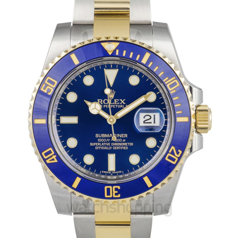 Rolex Rolex Submariner Blue Dial Stainless Steel and 18K Yellow Gold Bracelet Automatic Men's Watch 116613BLSO