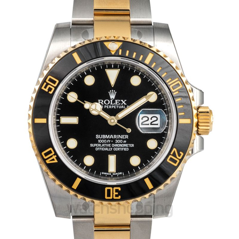 Rolex Rolex Submariner Black Dial Stainless Steel and 18K Yellow Gold Oyster Bracelet Automatic Men's Watch 116613BKSO