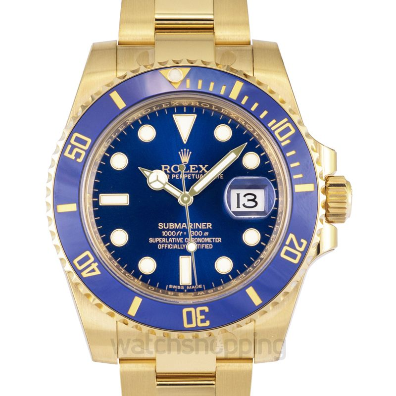 Rolex Submariner 18K Yellow Gold Oyster Bracelet Automatic Blue Dial Men's Watch