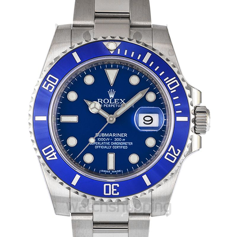 Rolex Submariner Date 18K White Gold Oyster Bracelet Automatic Blue Dial Men's Watch