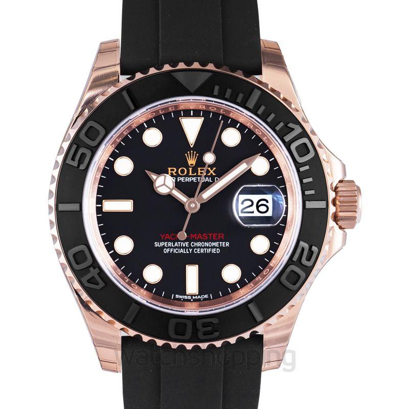 Rolex Rolex Yacht-Master Automatic Black Dial 18kt Everose Gold Black Rubber Strap Men's Watch 116655BKSRS
