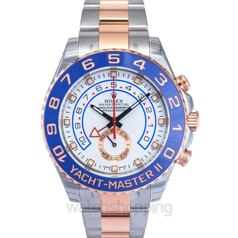 Rolex Yacht-Master II 18K Everose Gold Automatic White Dial Oyster Bracelet Men's Watch
