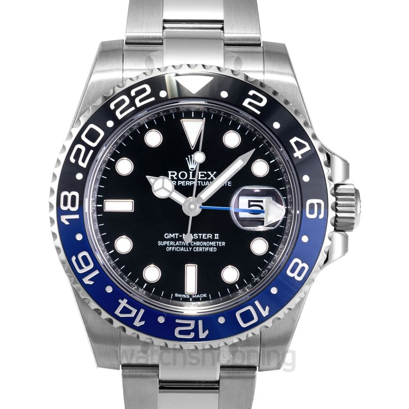 Rolex GMT Master II Stainless Steel Automatic Black Dial Men's Watch