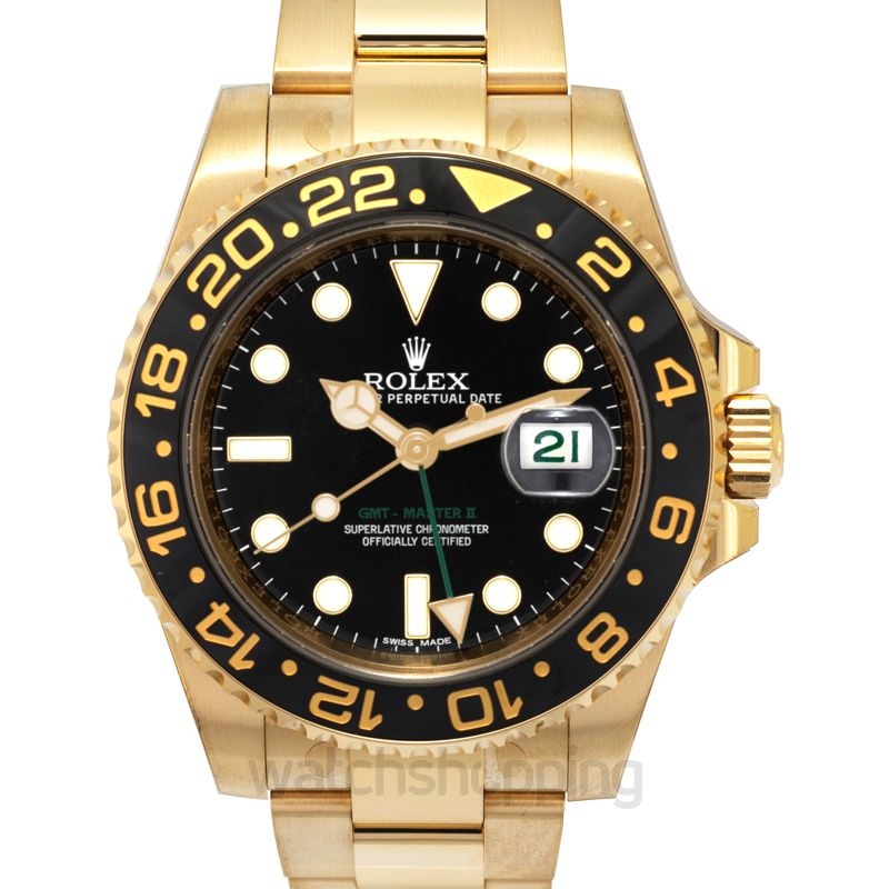 Rolex GMT Master II 18K Yellow Gold Automatic Black Dial Men's Watch