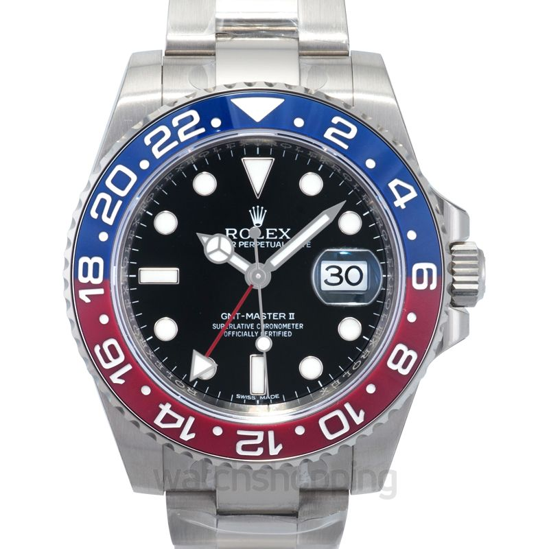 Rolex Rolex GMT Master II Black Lacquer Dial 18K White Gold Oyster Bracelet Automatic Men's Watch 116719BKSO