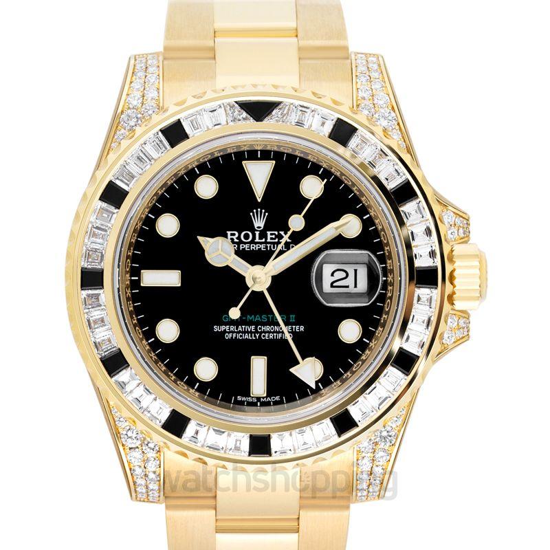 Rolex GMT-Master II Yellow Gold Automatic Black Dial Diamonds Men's Watch