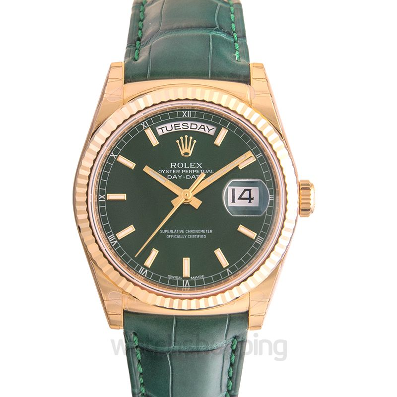 Rolex Day-Date 36 Yellow Gold / Strap / Green