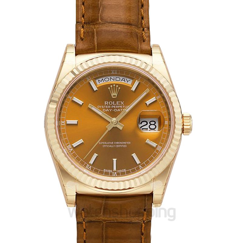 Rolex Rolex Day Date Cognac Dial 18K Yellow Gold Leather Men's Watch 118138COL
