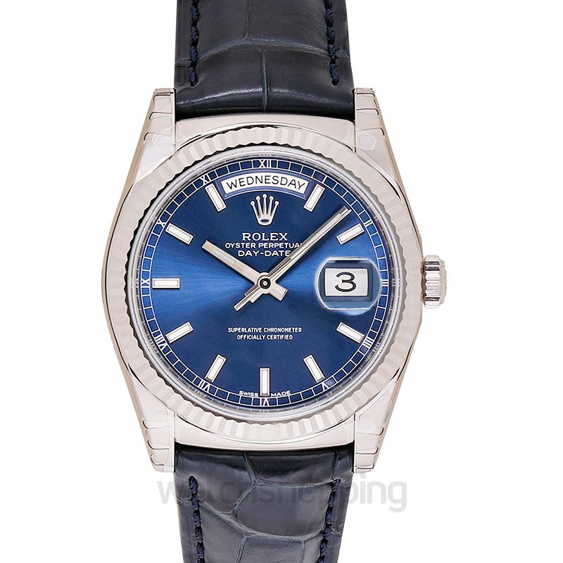 Rolex Day-Date 36 White Gold / Strap / Blue