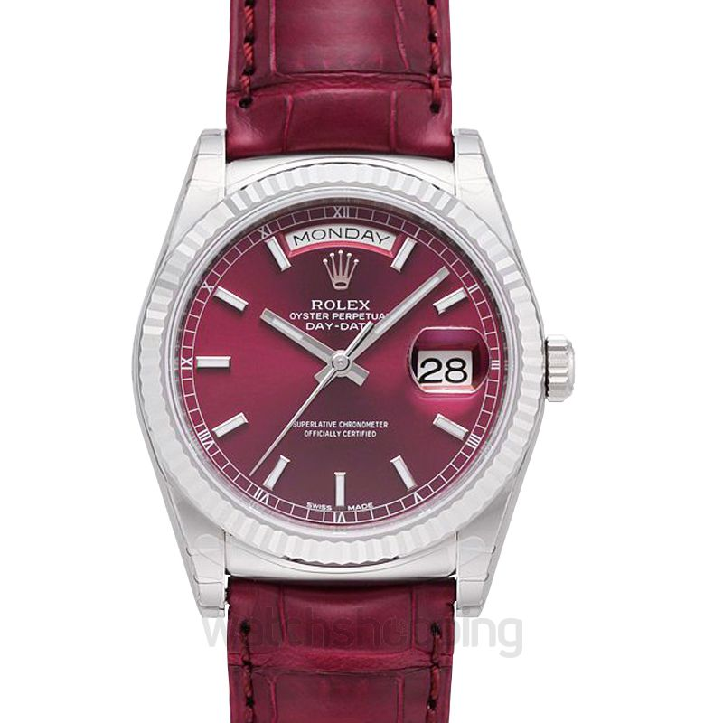 Rolex Day Date Automatic Red Dial Men's Watch