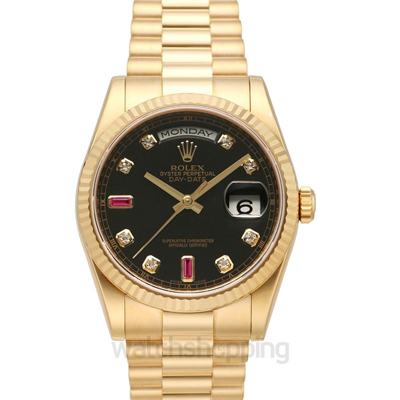 Rolex Day-Date 36 Yellow Gold Fluted / President / Black Diamonds Rubies