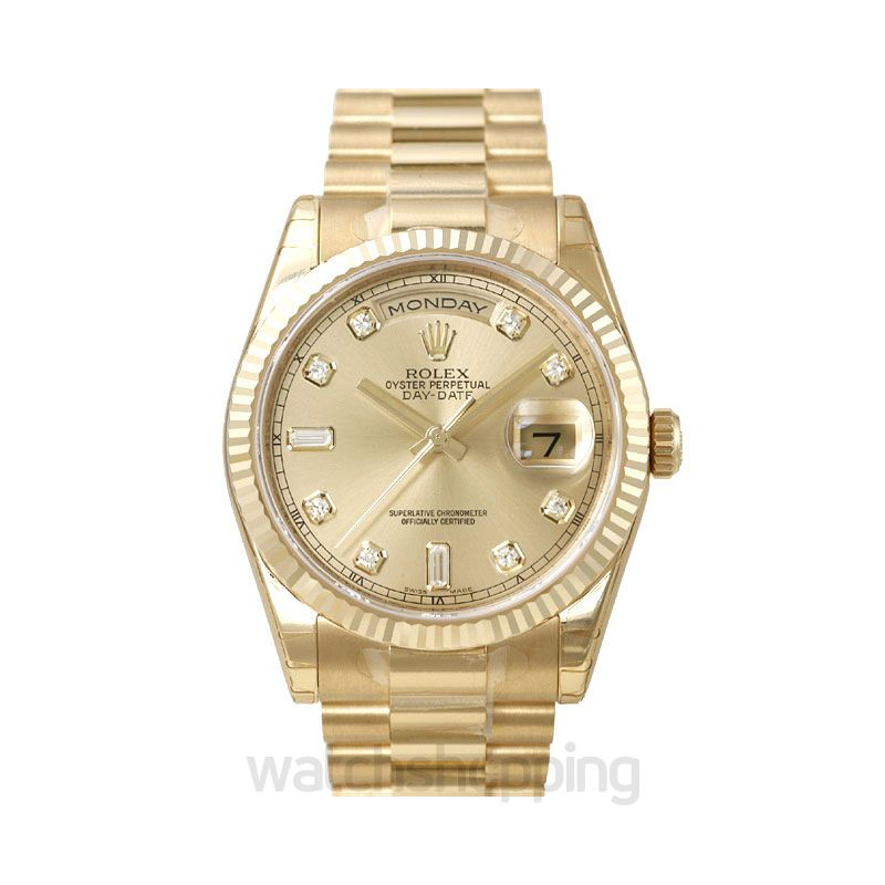 Rolex Day-Date 36 Yellow Gold Fluted / President / Champagne Diamonds