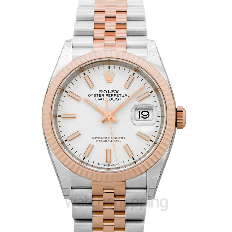 Rolex Datejust 36 Stainless Steel / Everose / Fluted / White / Jubilee