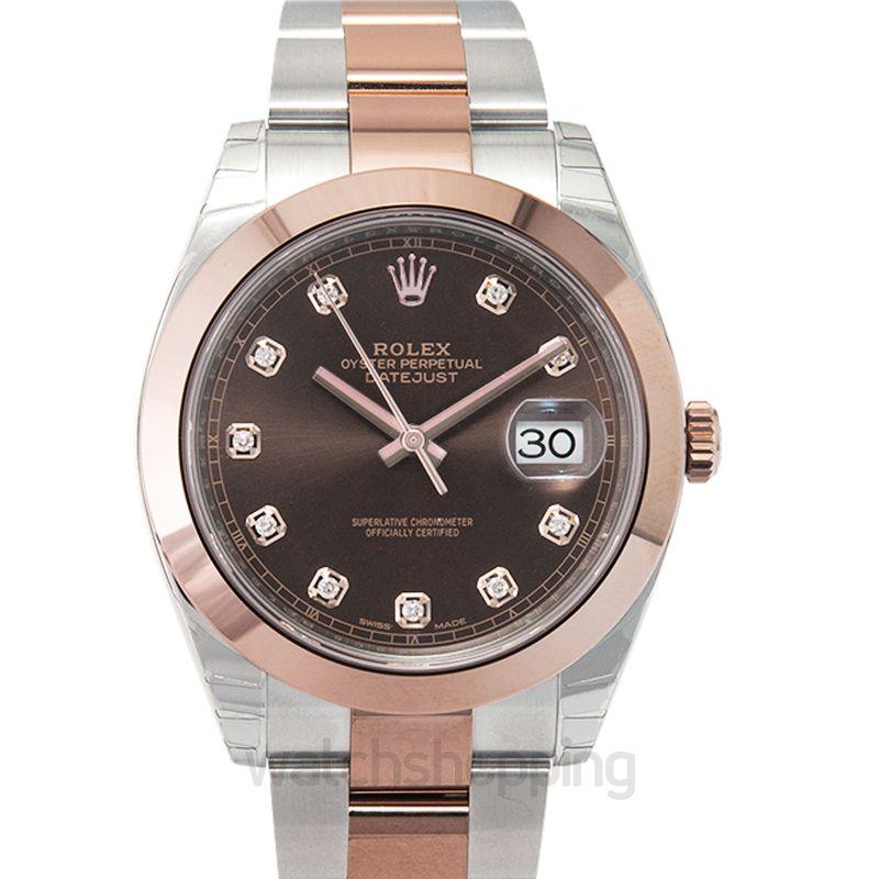 Rolex Datejust 41 Rolesor Everose Smooth / Oyster / Chocolate Diamond