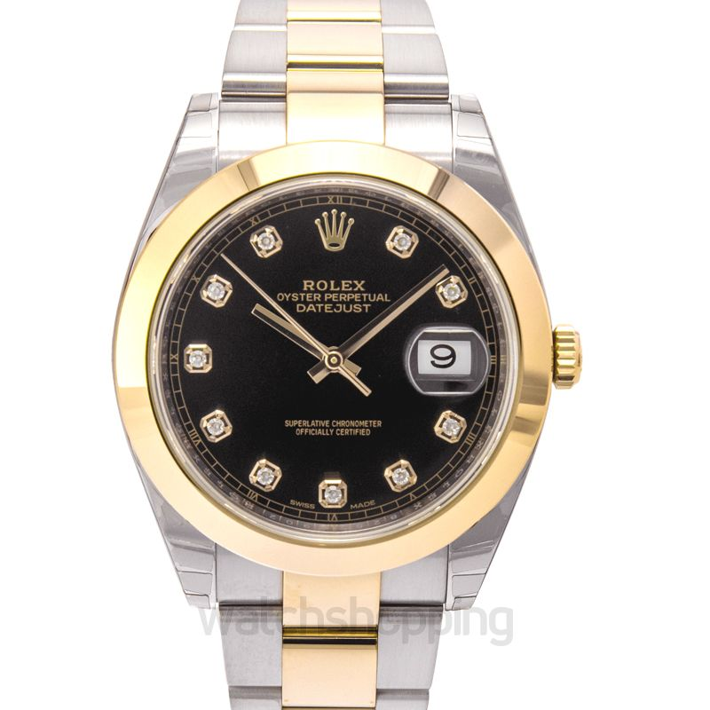 Rolex Datejust 41 Rolesor Yellow Smooth / Oyster / Black Diamond