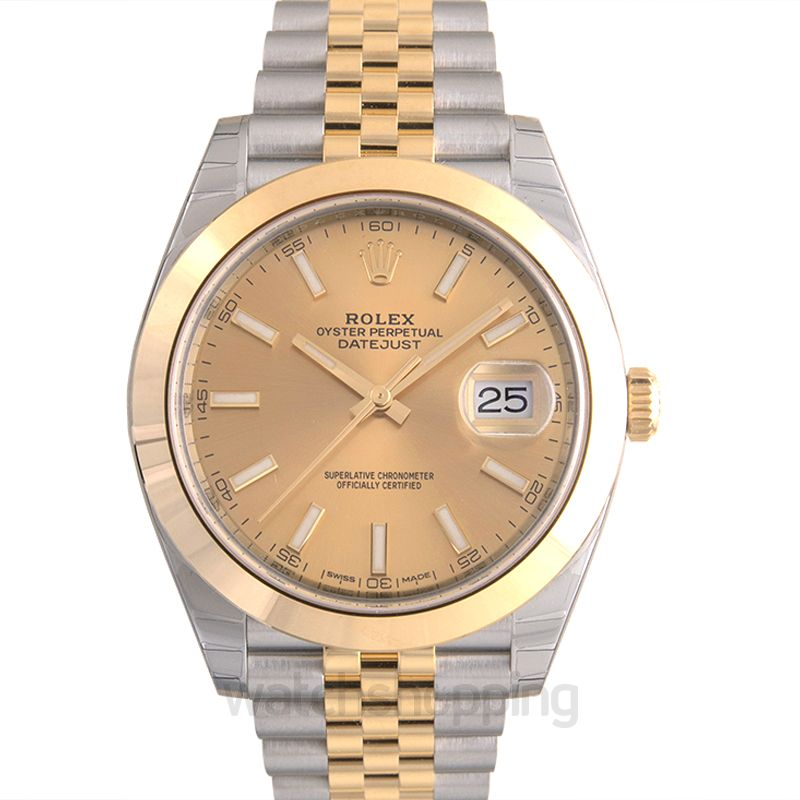Rolex Datejust 41 Rolesor Yellow Smooth / Jubilee  / Champagne