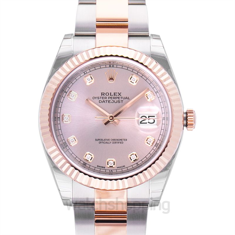 Rolex Datejust 41 Rolesor Everose Fluted / Oyster / Sundust Diamond
