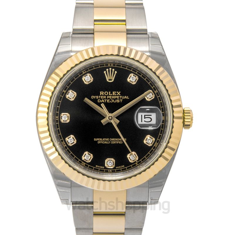Rolex Datejust 41 Rolesor Yellow Fluted / Oyster / Black Diamond