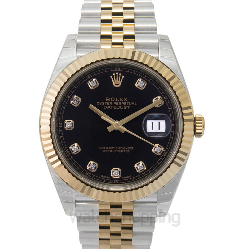 Rolex Datejust 41 Rolesor Yellow Fluted / Jubilee / Black Diamond