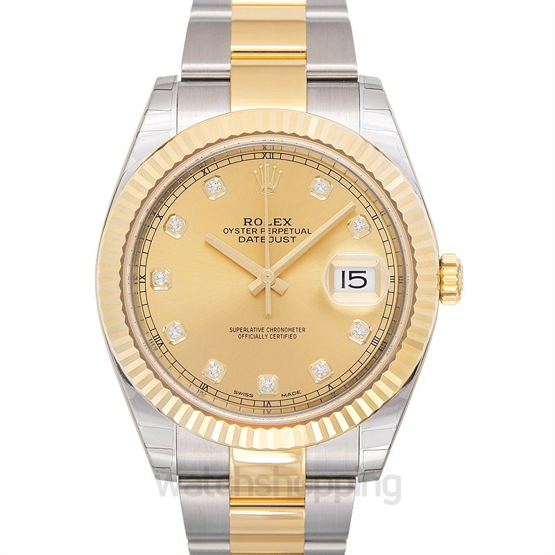 Rolex Datejust 41 Rolesor Yellow Fluted / Oyster / Champagne Diamond