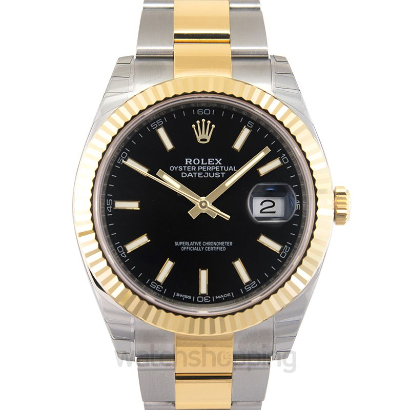 Rolex Datejust 41 Rolesor Yellow Fluted / Oyster / Black