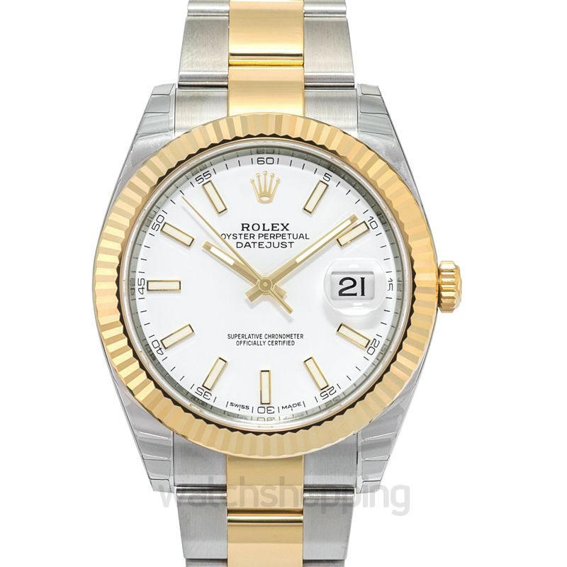 Rolex Datejust 41 Rolesor Yellow Fluted / Oyster / White