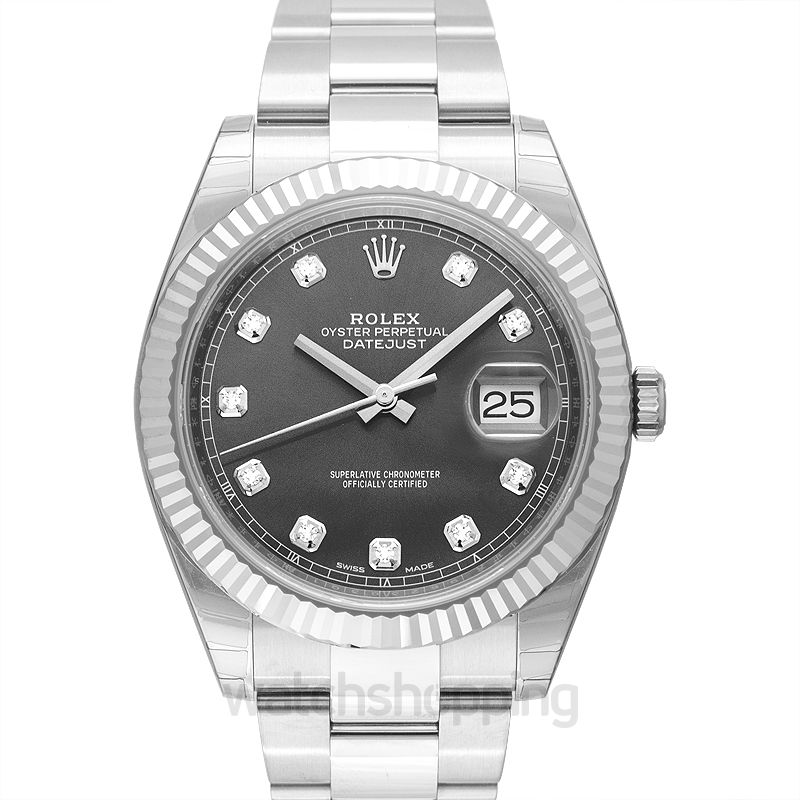 Rolex Datejust 41 Stainless Steel Fluted / Oyster / Dark Rhodium Diamond