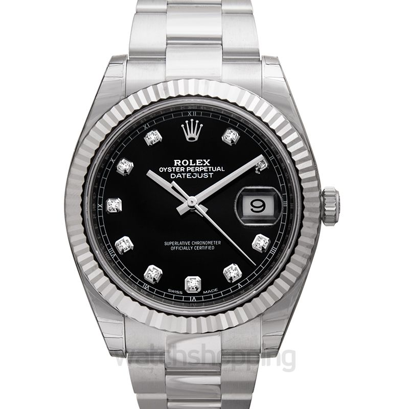 Rolex Datejust 41 Stainless Steel Fluted / Oyster / Black Diamond
