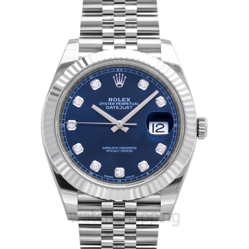 Rolex Datejust 41 Stainless Steel Fluted / Jubilee  / Blue Diamond