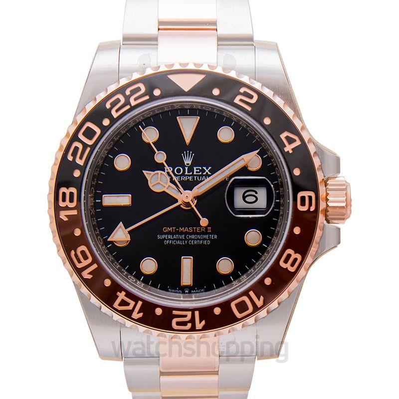 Rolex GMT Master II Black & Brown Bezel Stainless Steel Automatic Black Dial Men's Watch
