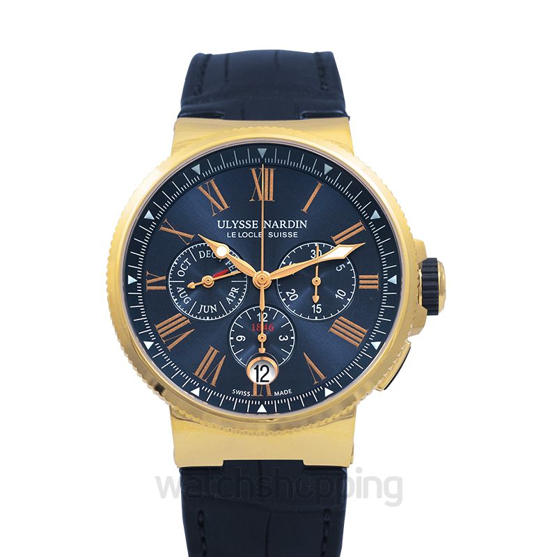 Ulysse Nardin Marine Chronograph 18kt Rose Gold Automatic Blue Dial Men's Watch
