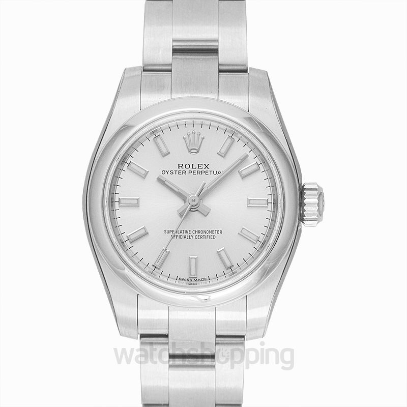 Rolex Oyster Perpetual Automatic Silver Dial Ladies Watch
