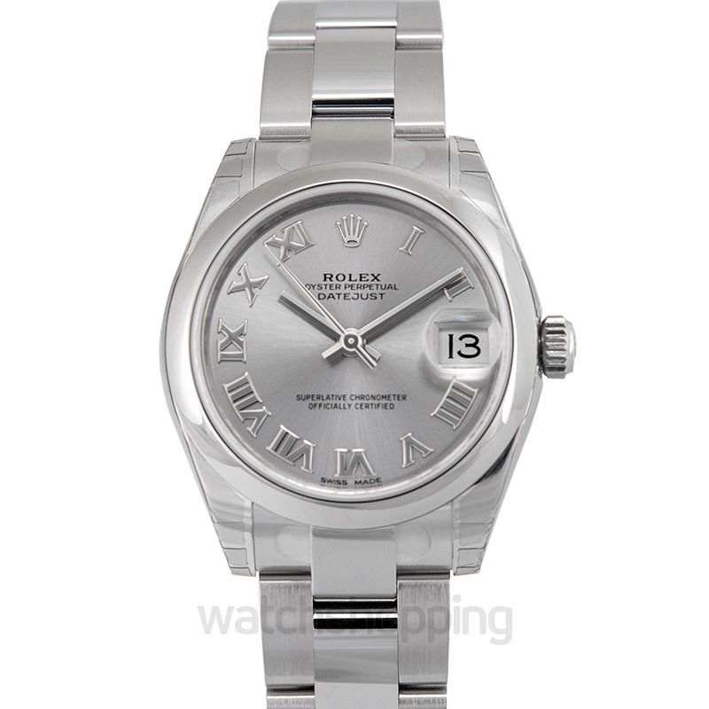 Rolex Rolex Oyster Perpetual Datejust Rhodium Dial Automatic Ladies Stainless Steel Watch 178240RRO