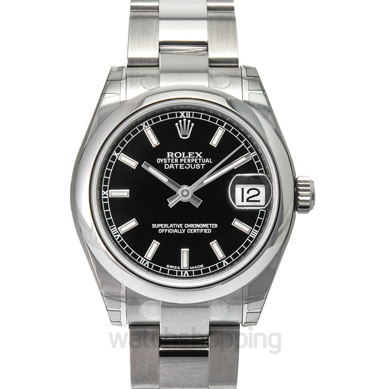 Rolex Datejust 31 Stainless Steel Domed / Oyster / Black