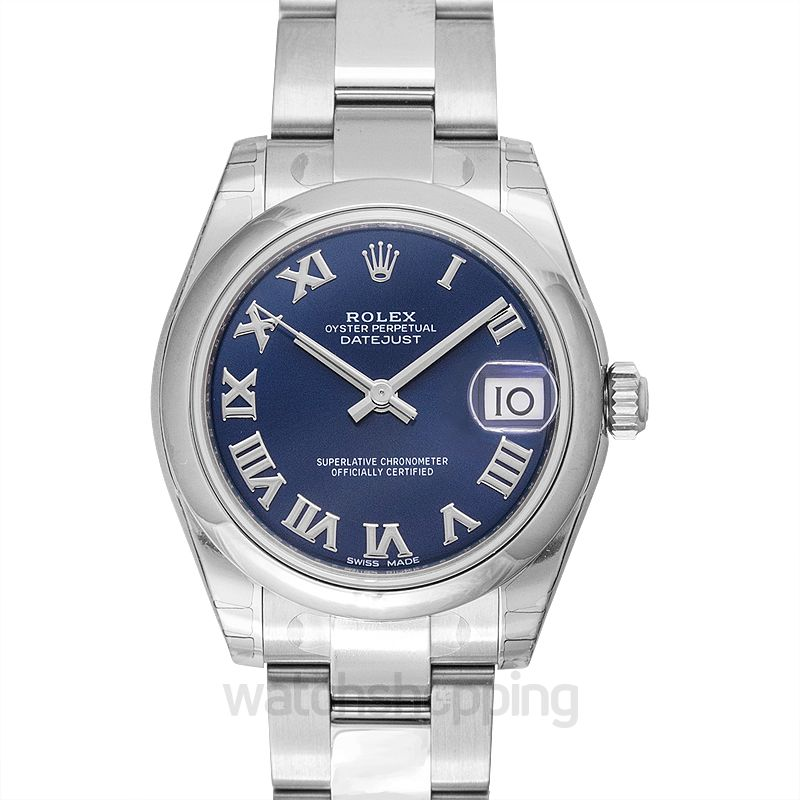 Rolex Datejust 31 Stainless Steel Domed / Oyster / Blue Roman