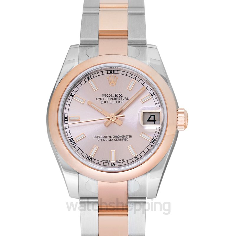 Rolex Datejust Lady 31 18ct Everose Gold Automatic Pink Dial Ladies Watch