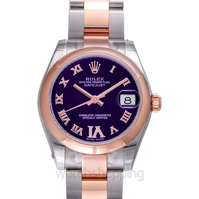 Rolex Datejust 31 Rolesor Everose Domed / Oyster / Purple Roman