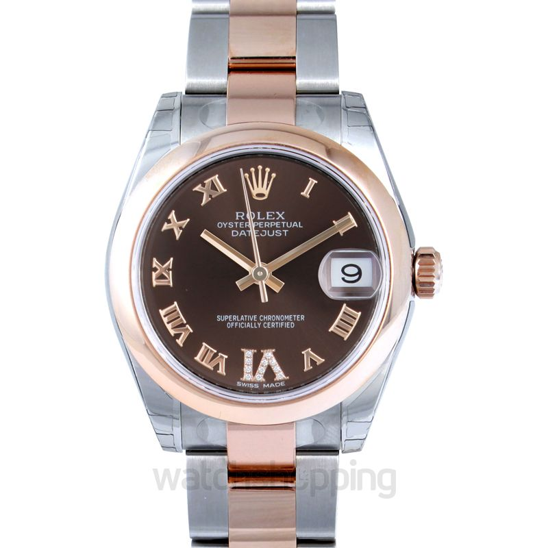 Rolex Datejust 31 Rolesor Everose Domed / Oyster / Chocolate Roman