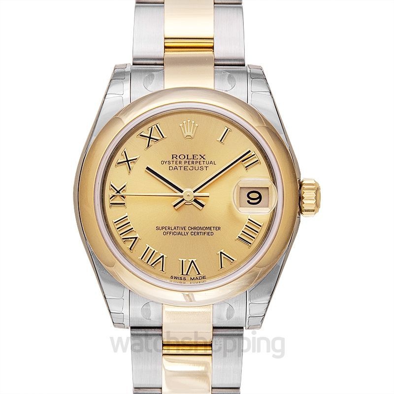 Rolex Datejust 31 Rolesor Yellow  Domed / Oyster / Champagne Roman