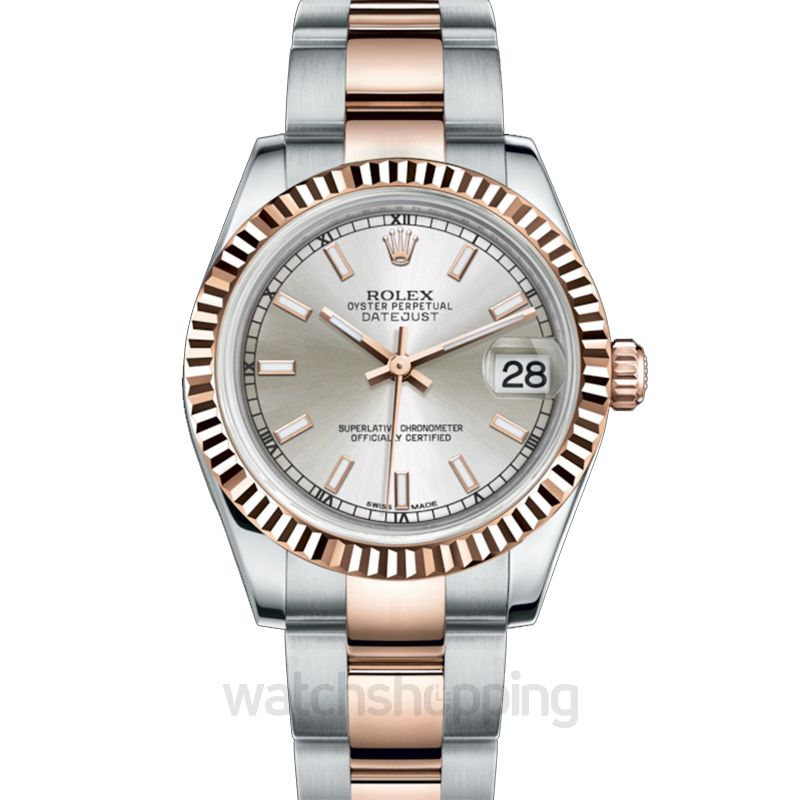 Rolex Datejust 31 Rolesor Everose Fluted / Oyster / Silver