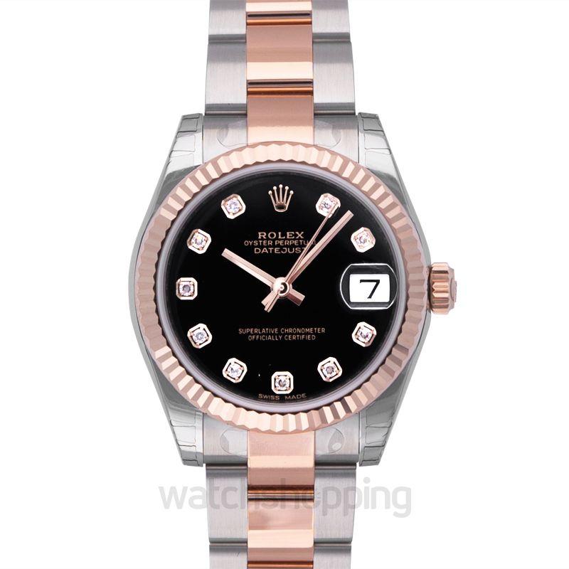 Rolex Datejust 31 Rolesor Everose Fluted / Oyster / Black Diamond