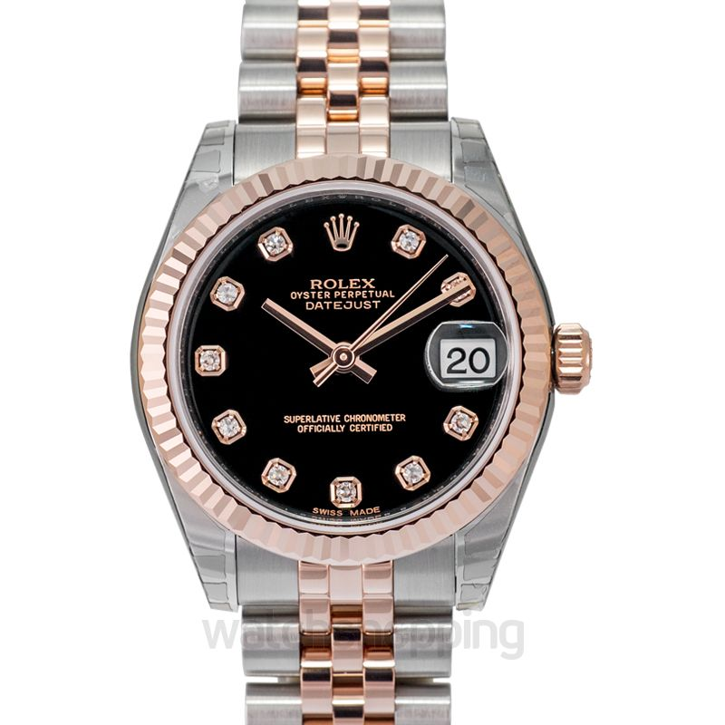 Rolex Datejust 31 Rolesor Everose Fluted / Jubilee / Black Diamond
