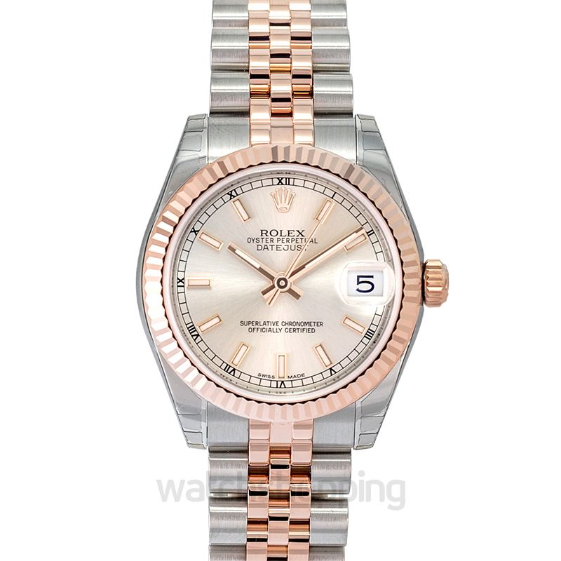 Rolex Datejust 31 Rolesor Everose Fluted / Jubilee / Silver